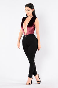 Hot To Touch Bodysuit - Wine Angle 6