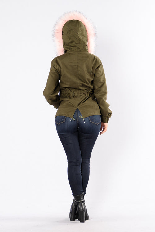 Explore The World Jacket - Olive/Pink