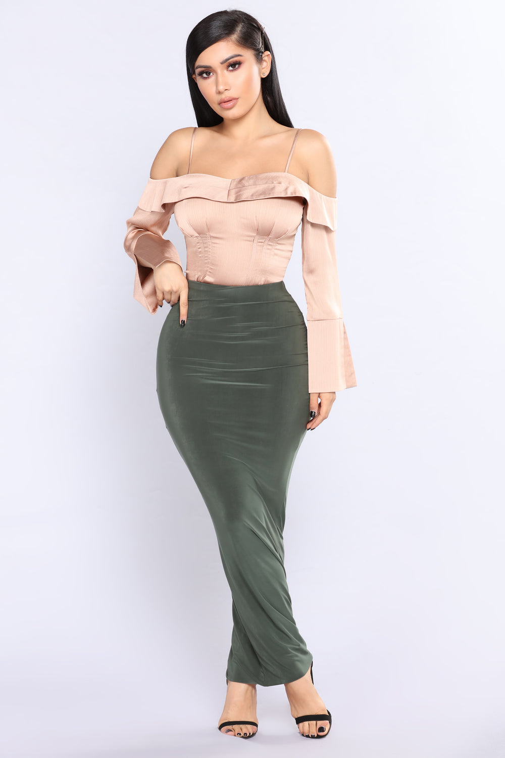 Simple Elegance Satin Top - Taupe