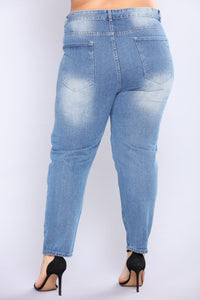 Don't Mess Sequin Boyfriend Jeans - Medium Blue Wash