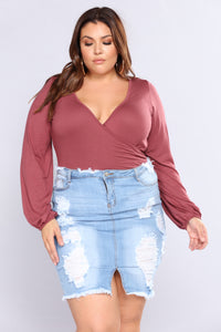 Later Lover Ruched Top - Mauve