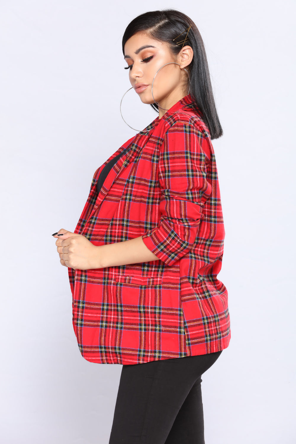 Smart Aleck Plaid Jacket - Red