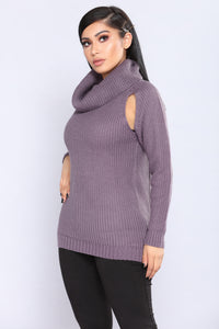 Half Thought Slotted Sweater - Lavender
