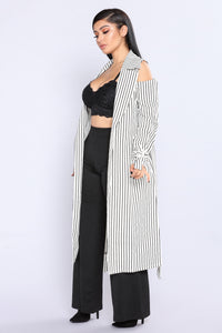 Chill Out Cold Shoulder Jacket - Black/White