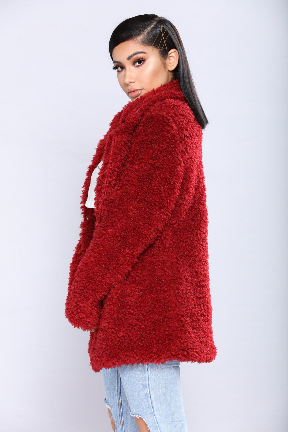 Sweet Nothings Fuzzy Jacket - Burgundy