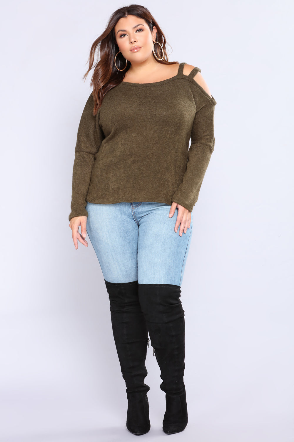 At A Glance Cold Shoulder Top - Olive