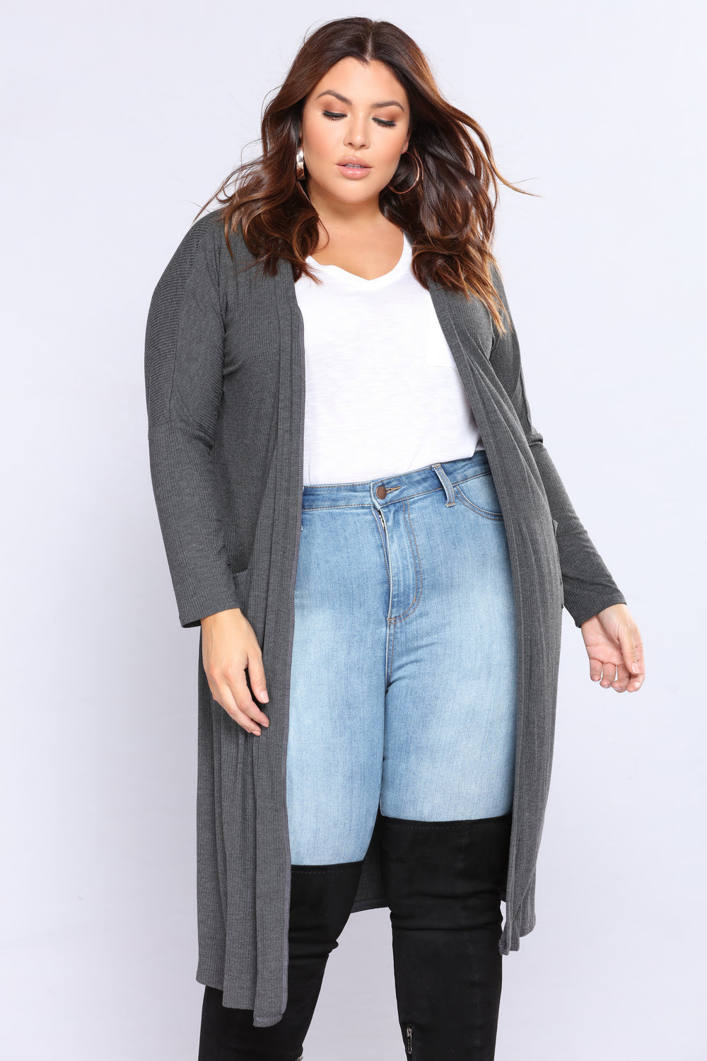 Layover Ribbed Cardigan - Charcoal