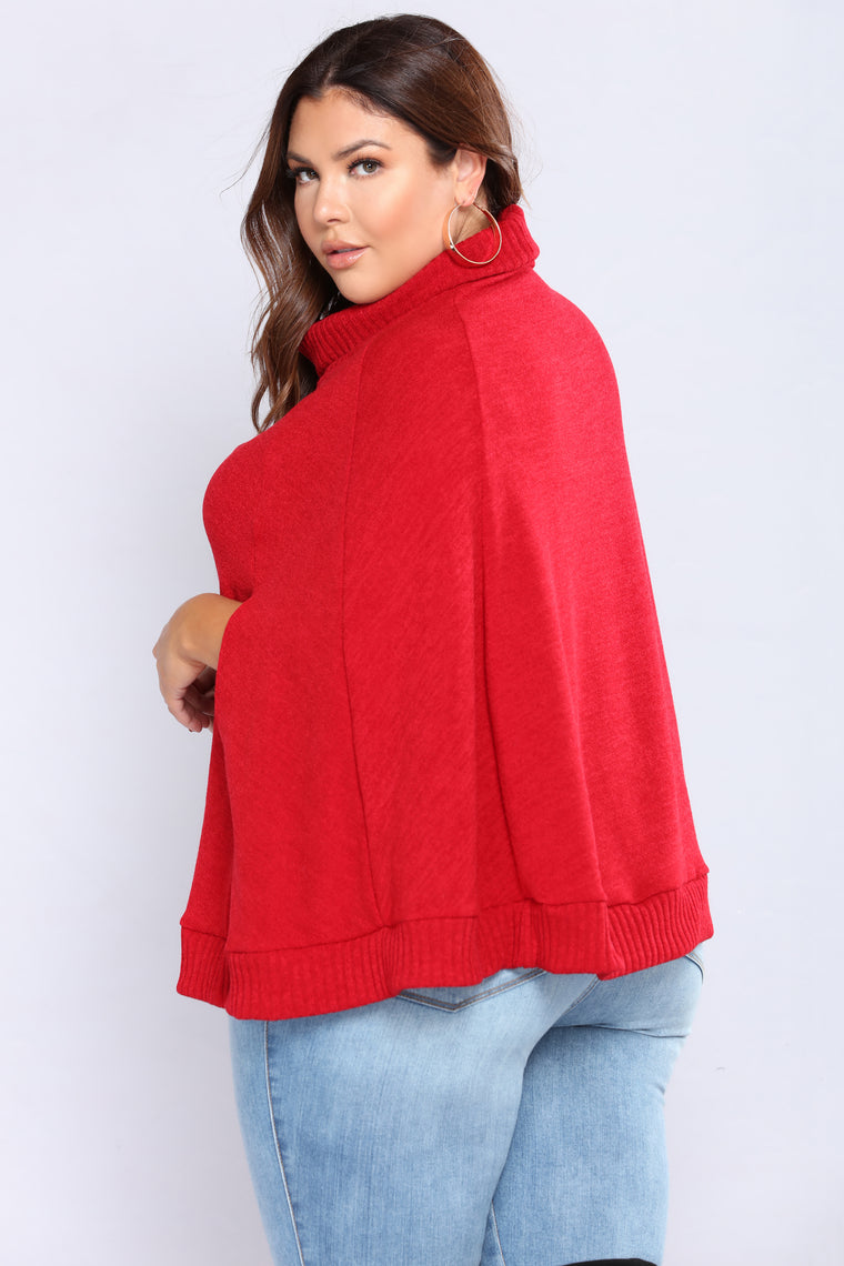 Aberdeen Poncho Sweater - Burgundy