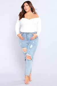 Fool In Love Off Shoulder Bodysuit - Ivory