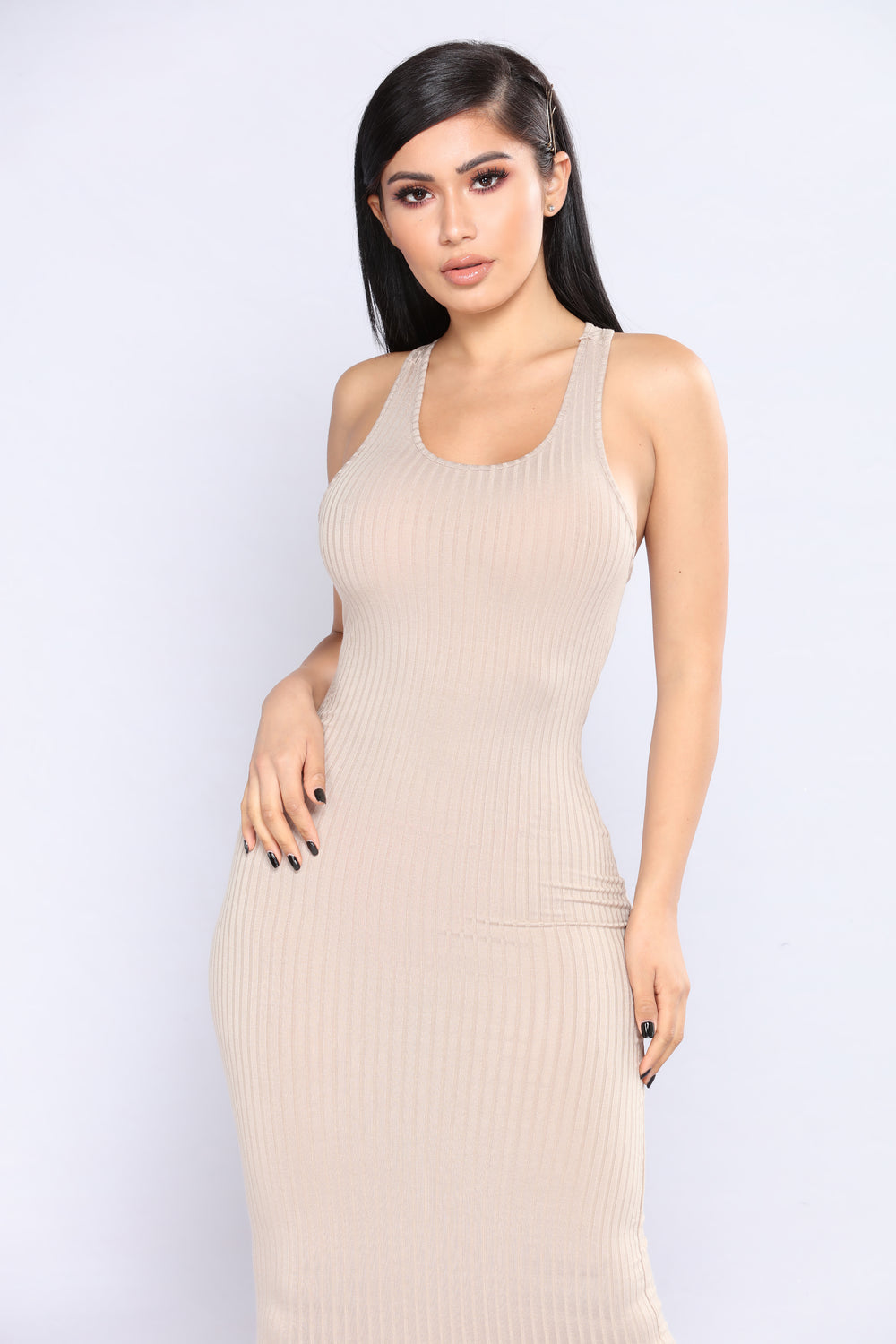 Becky Midi Dress - Taupe