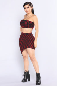 Bitter Love Houndstooth Set - Red/Black