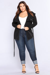 Out On The Town Draped Jacket - Black