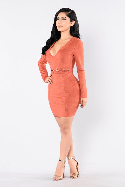 Suede Braid Dress - Rust