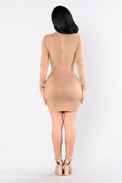 Suede Braid Dress - Mocha