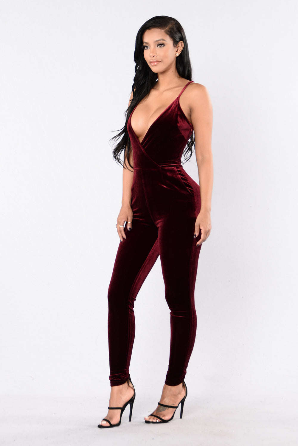 Light It Up Jumpsuit - Burgundy