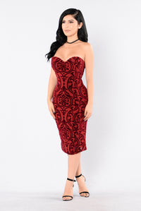 Burning Love Dress - Burgundy Angle 1