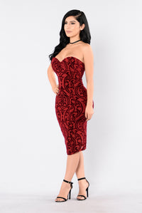 Burning Love Dress - Burgundy Angle 3