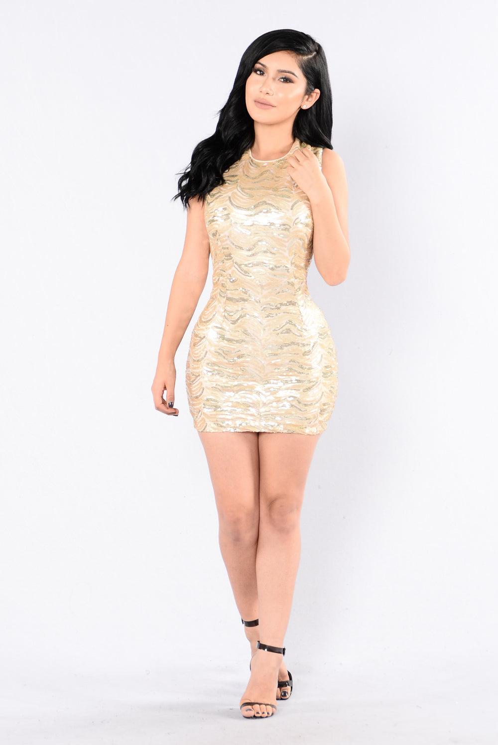 Diamonds Are Forever Dress - Taupe/Gold