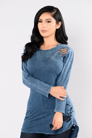 Wreck My Heart Top - Denim