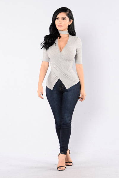 Flaunt It Top - Heather Grey