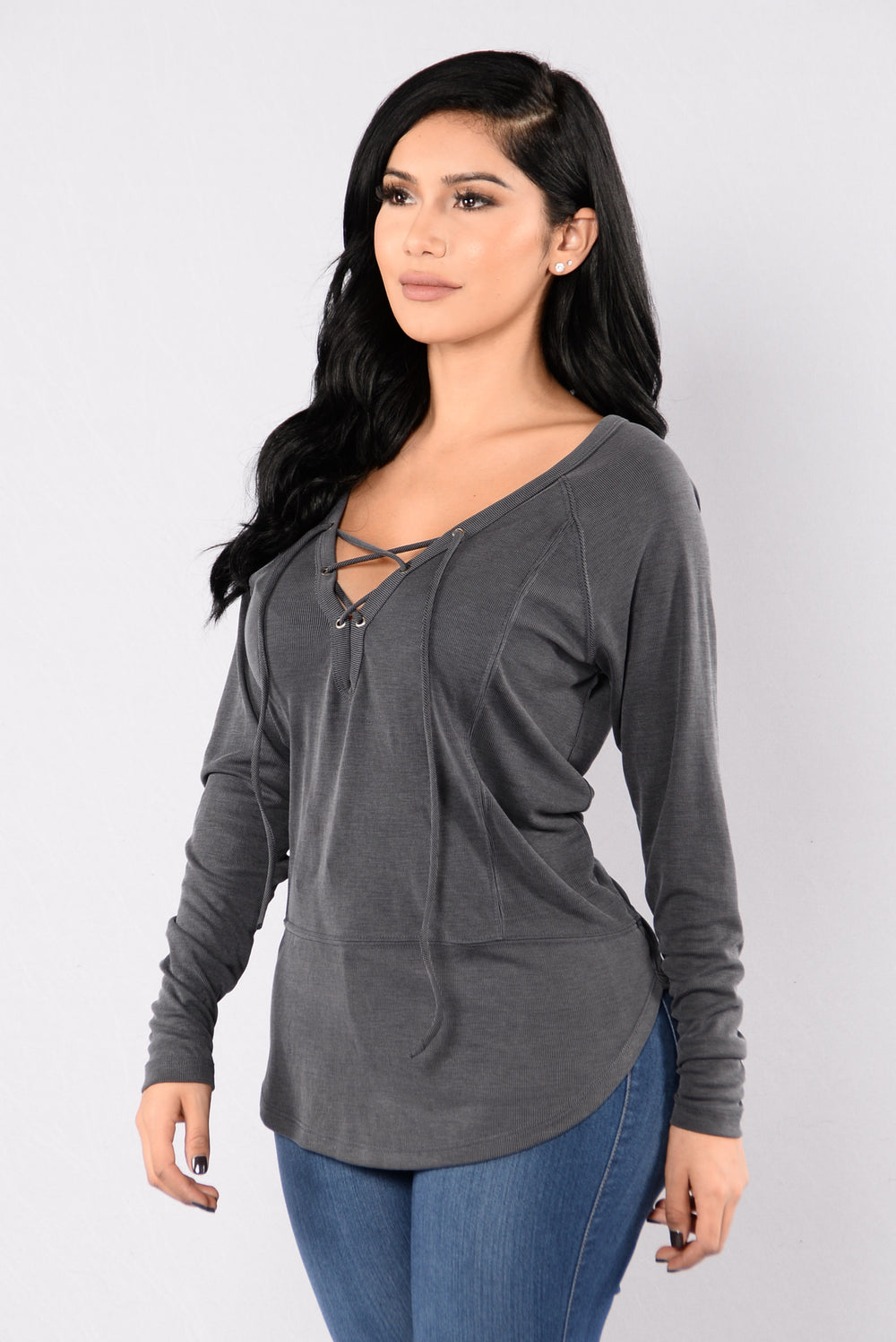All Laced Up Top - Charcoal