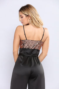Party On The Top Jumpsuit - Bronze/Black