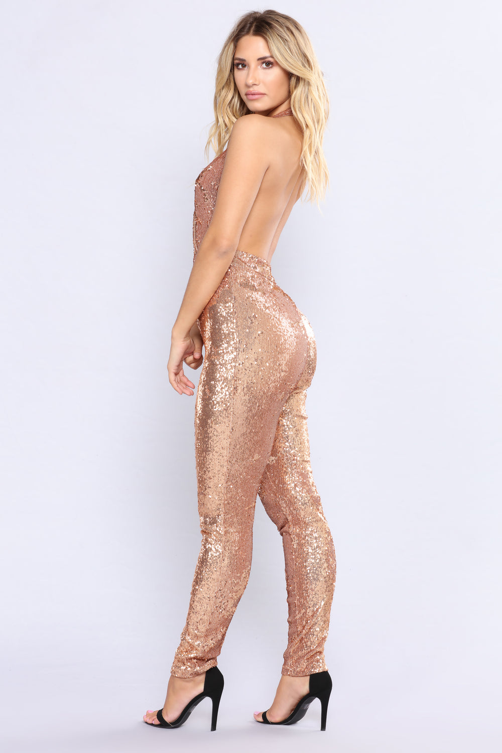 For The Thrill Sequin Jumpsuit - Rose Gold