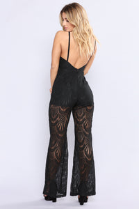 Forest Falls Lace Jumpsuit - Black