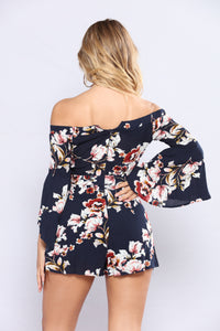 April Showers Floral Romper - Navy