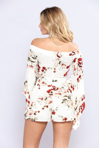 April Showers Floral Romper - Ivory