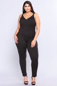 Super Sass Buckle Jumpsuit - Black Angle 6