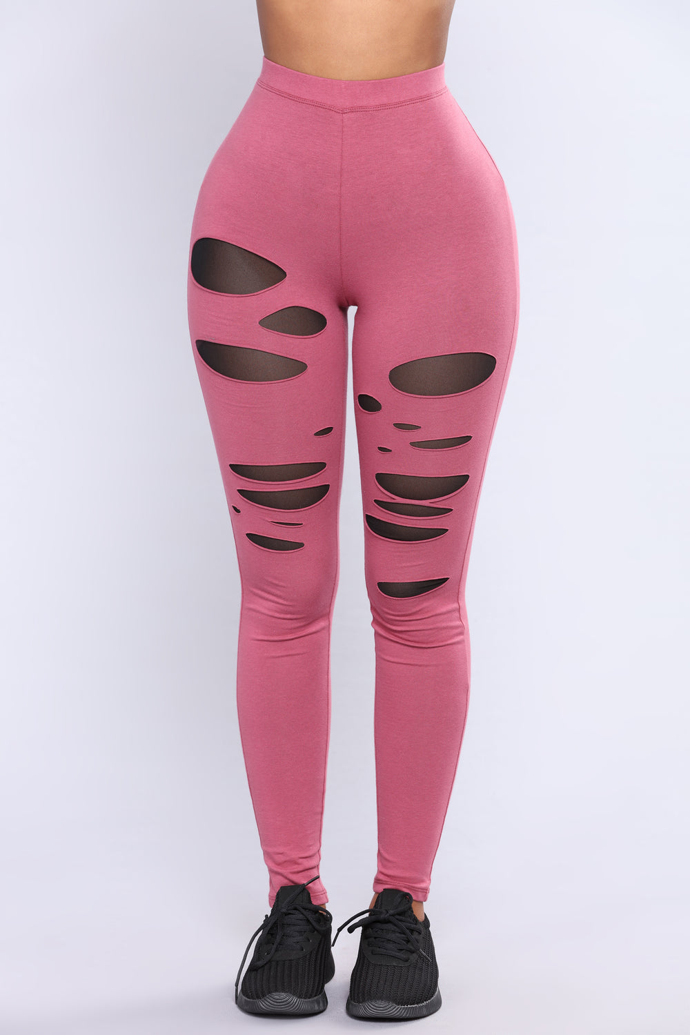 Camille Mesh Cut Out Leggings - Mauve