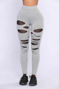 Camille Mesh Cut Out Leggings - Heather Grey