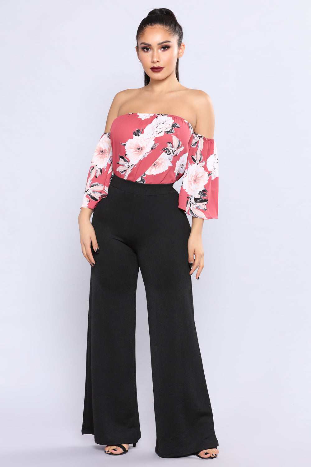 Charmer Floral Off Shoulder Top - Marsala