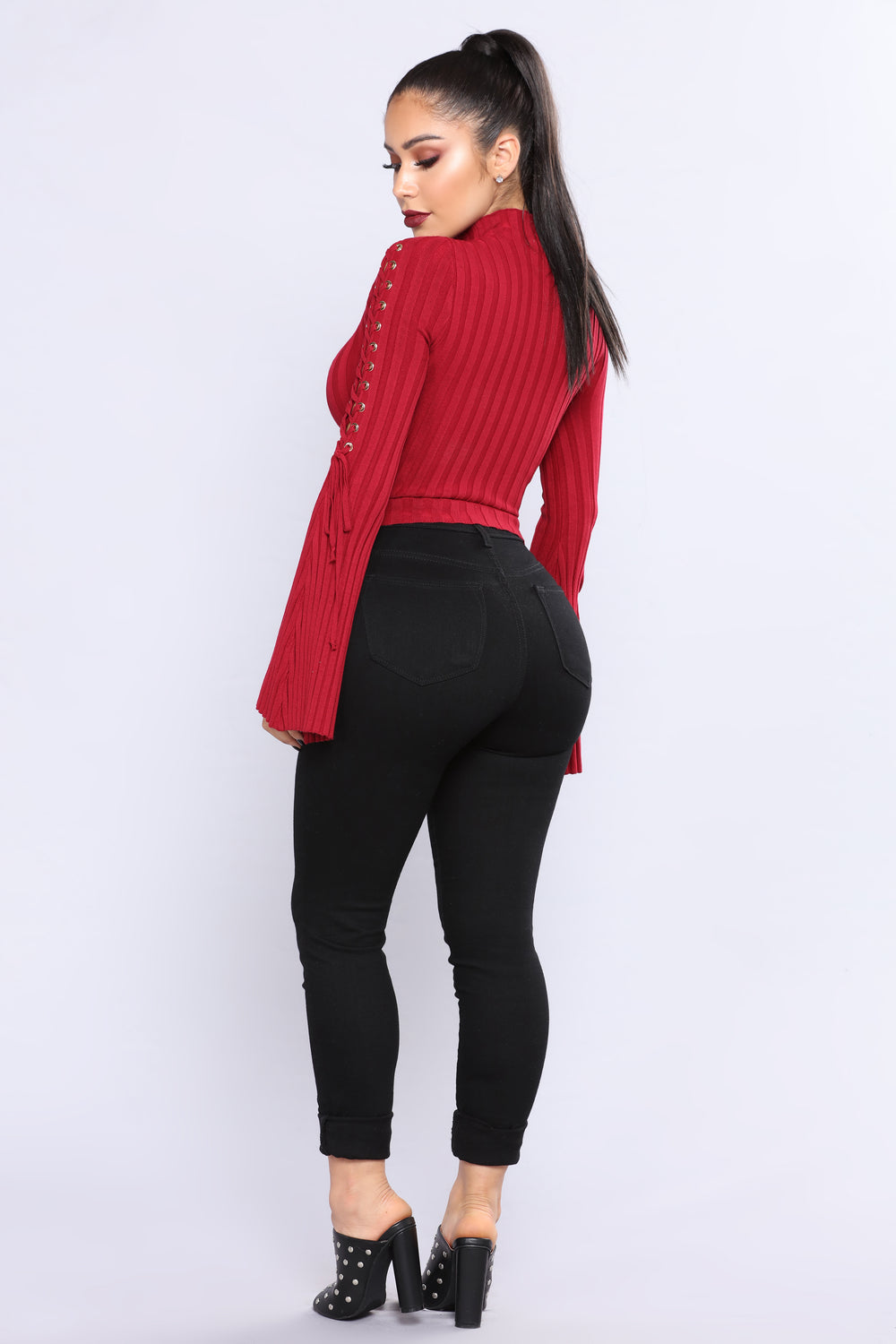 Next To Me Mock Neck Sweater - Red