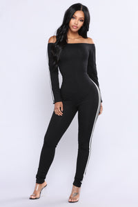 Keep Going Off Shoulder Jumpsuit - Black