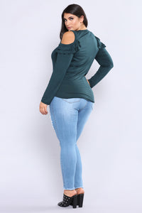 Put Up Your Hands Knit Top - Hunter Green