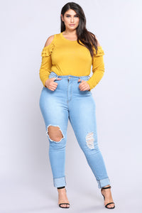 Put Up Your Hands Knit Top - Mustard