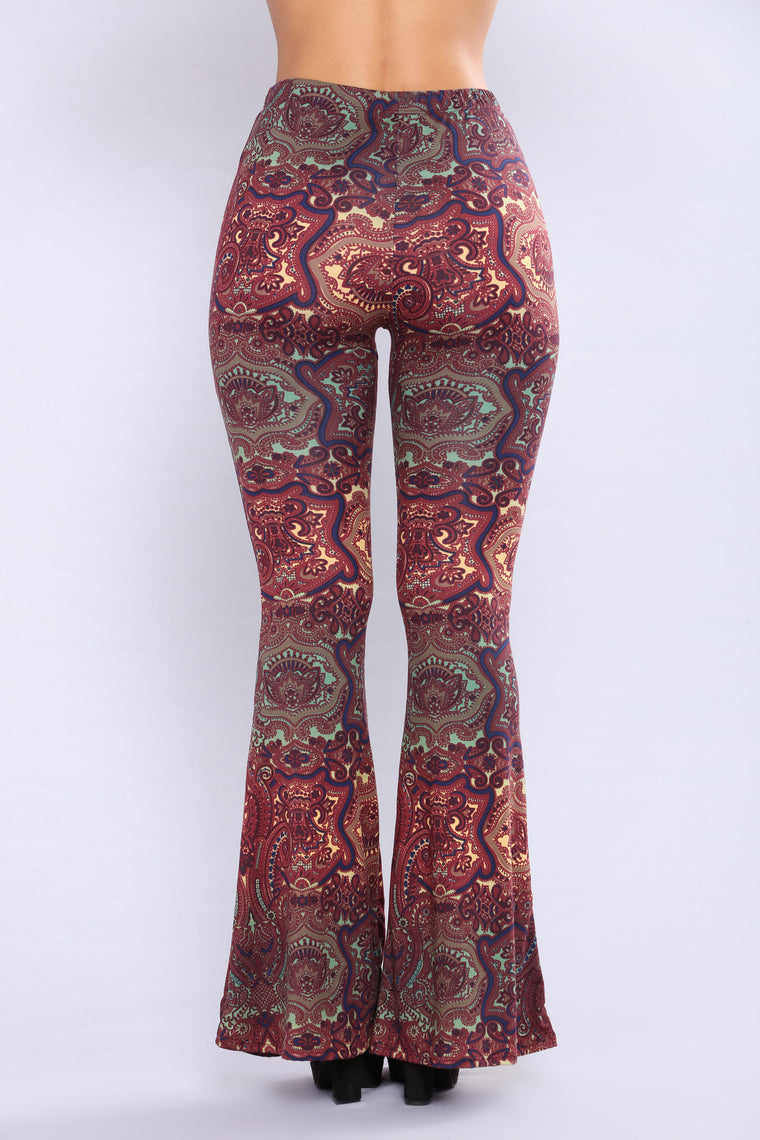 Stephanie Bell Bottom Printed Pants - Rust Multi