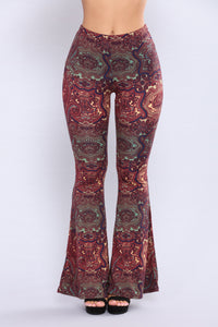 Stephanie Bell Bottom Printed Pants - Rust Multi Angle 2
