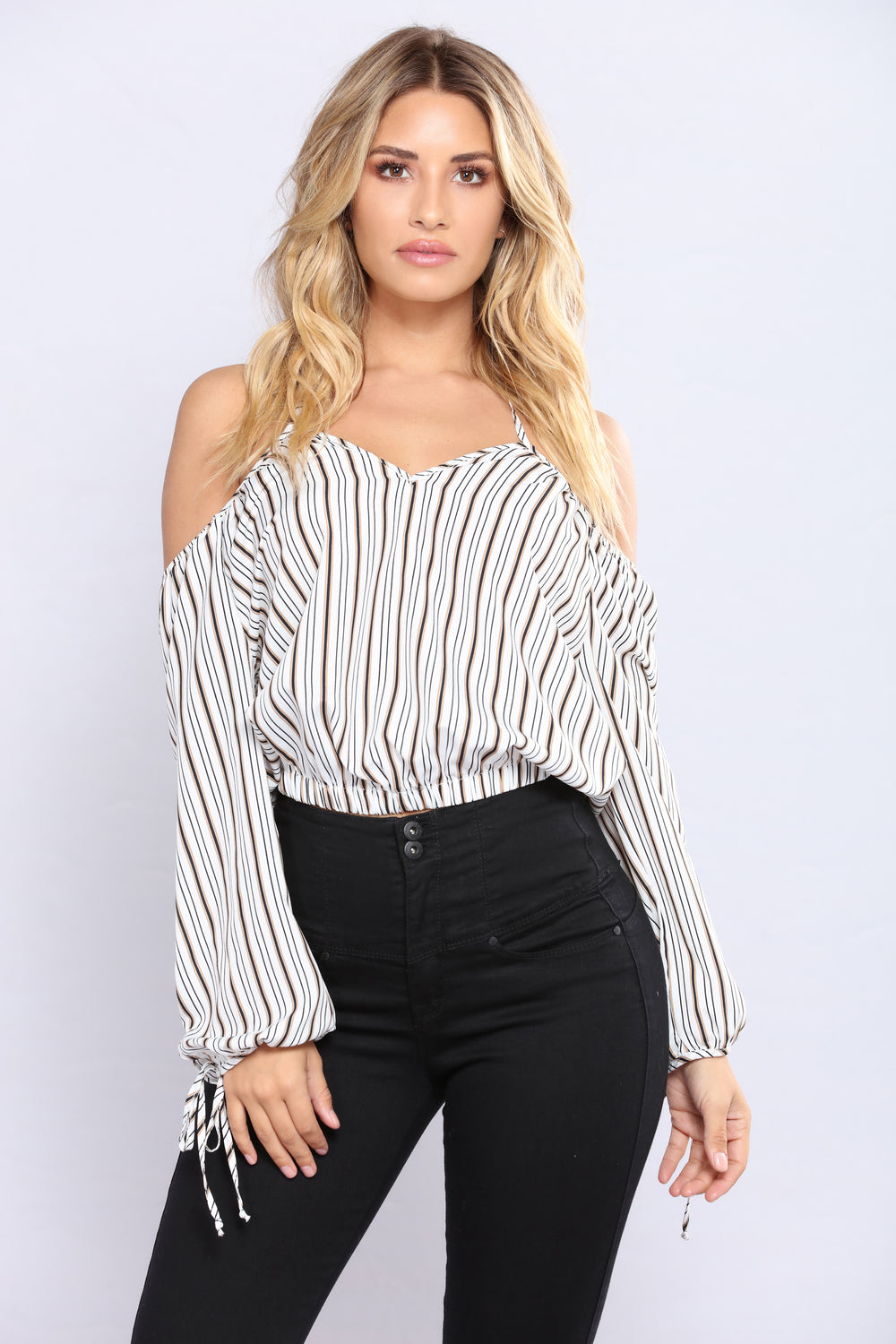 Sierra Cold Shoulder Top - Ivory/Multi
