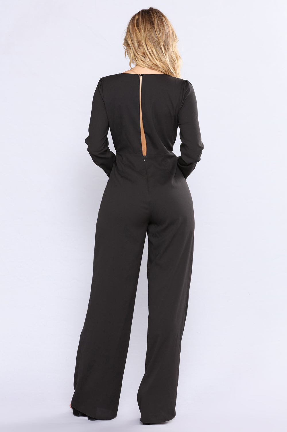 Yahir Satin Jumpsuit - Black