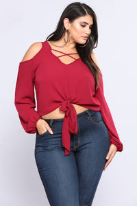 Waisted Chiffon Top - Burgundy