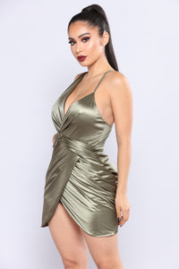 Got Me Twisted Satin Dress - Olive