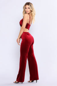 Very Velvet Pant Set - Burgundy