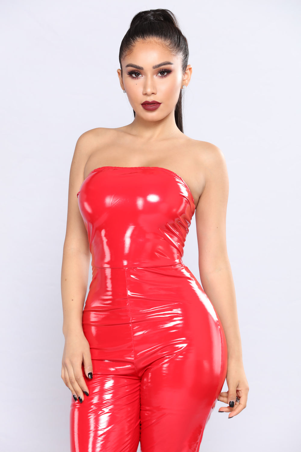 Thrilling Chase Latex Jumpsuit - Red