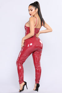 Need For Speed Latex Jumpsuit - Burgundy