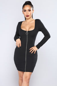 Out Of Time Ribbed Dress - Black Angle 1