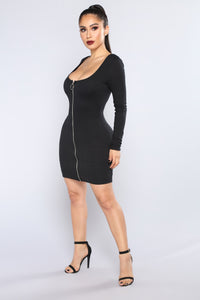 Out Of Time Ribbed Dress - Black Angle 3