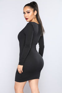 Out Of Time Ribbed Dress - Black Angle 2